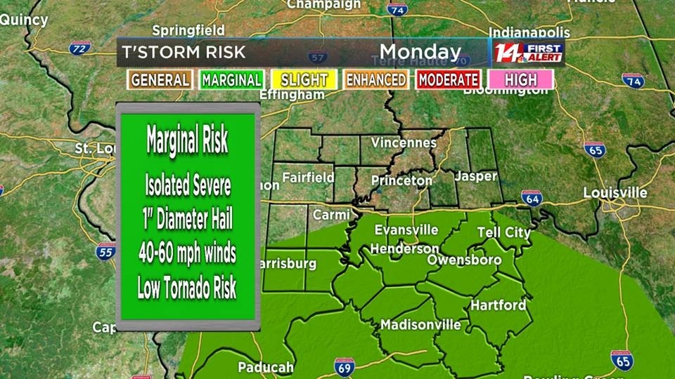 Marginal Risk For Severe Thunderstorms This Afternoon!