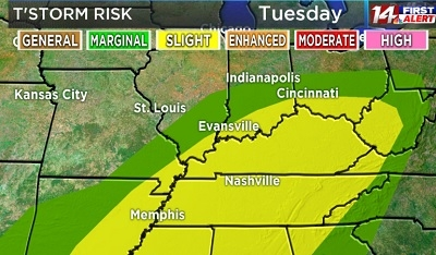 Slight Risk For Severe Weather Tuesday!