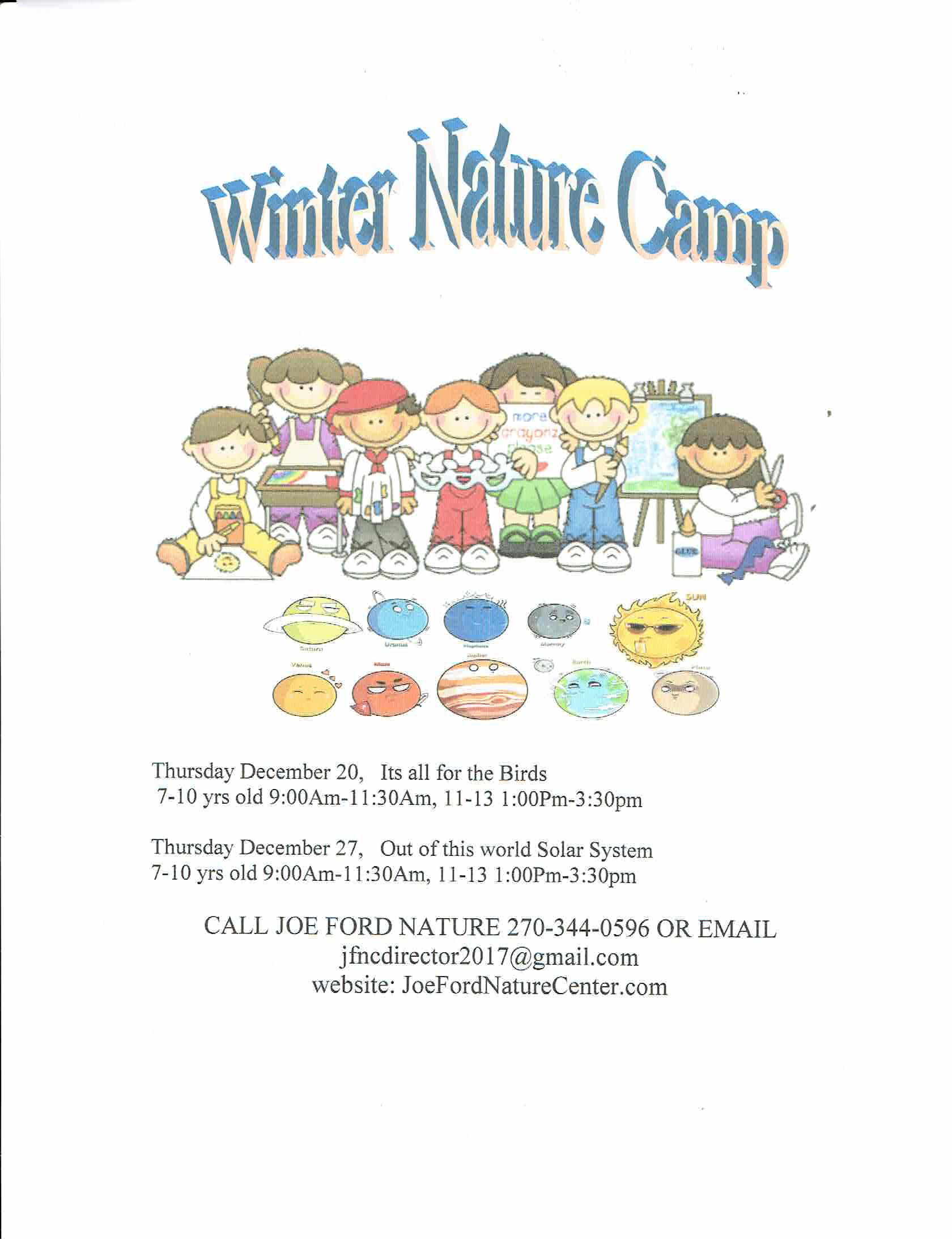 Joe Ford Nature Center Hosts Winter Nature Camps Next Month