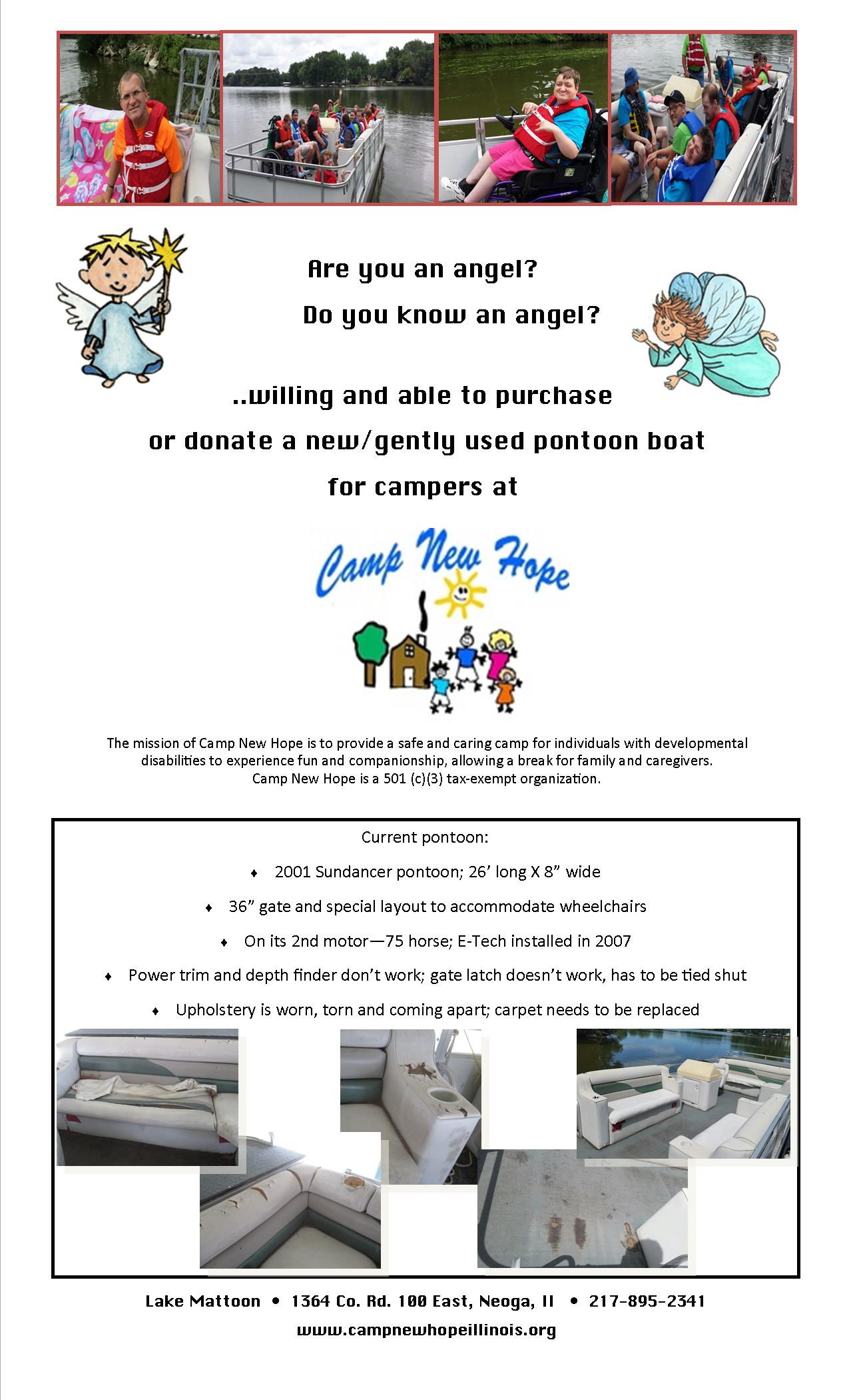 Pontoon Boat Needed for Camp New Hope