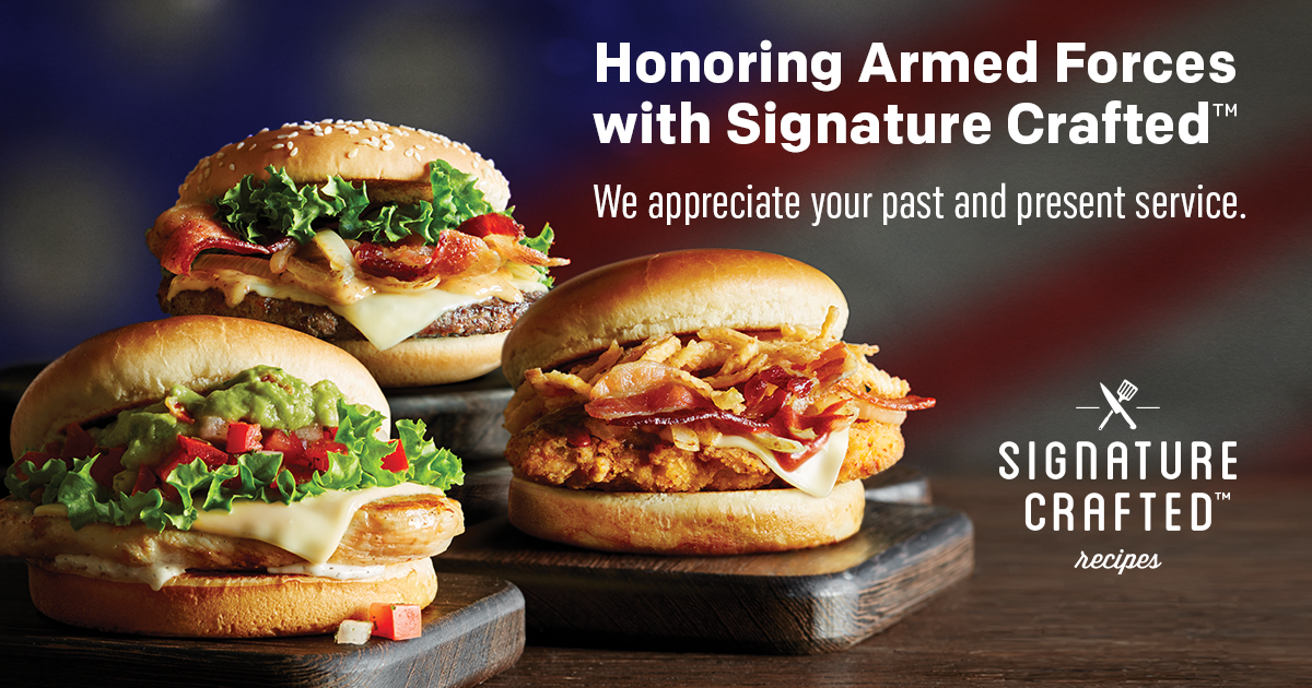 Military personnel to receive Free Signature Crafted® Recipes sandwich May 20