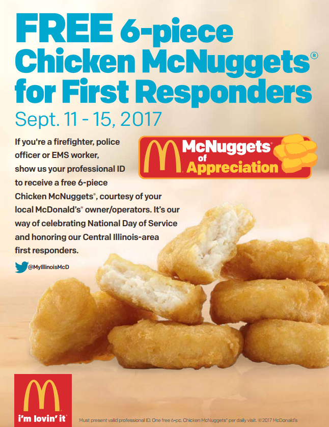 McDonald's® Owner/Operators Honor Central Illinois First Responders with Free Chicken McNuggets®