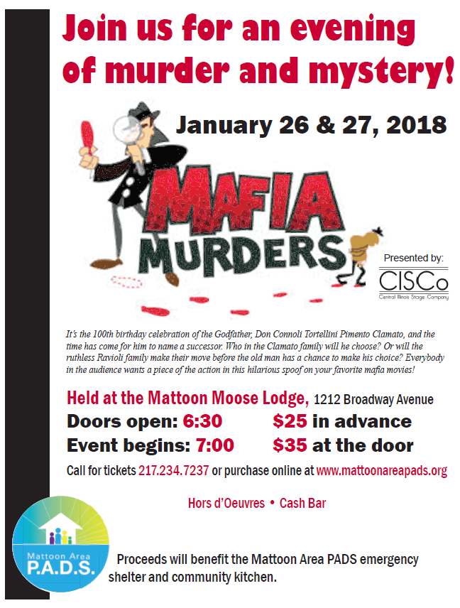 Murder Mystery Night Out to Support Mattoon Area P.A.D.S.
