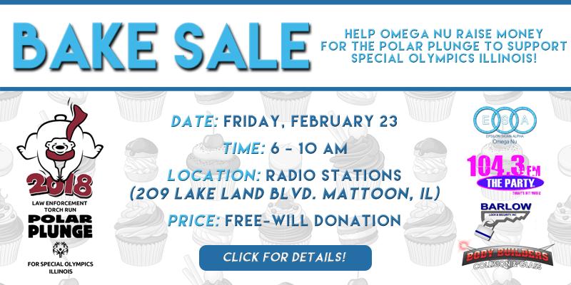Omega Nu Bake Sale Benefiting Party Polar Plunge Team
