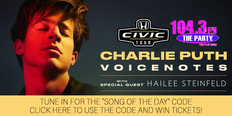 "Charlie Puth ""Song of the Day"" Code - Ticket Giveaway"