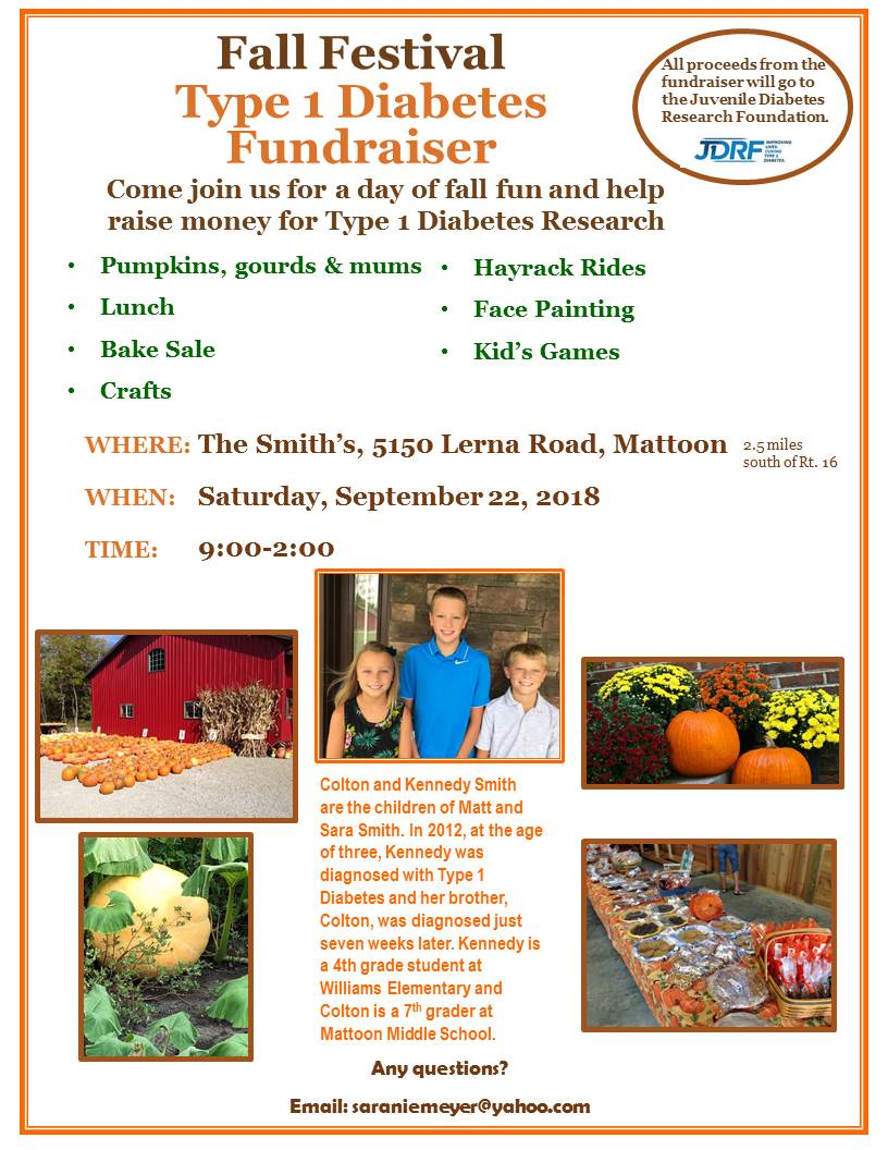 Fall Festival to Benefit Juvenile Diabetes Research Foundation