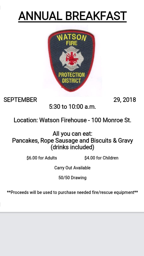 Watson Fire Hosting All You Can Eat Breakfast