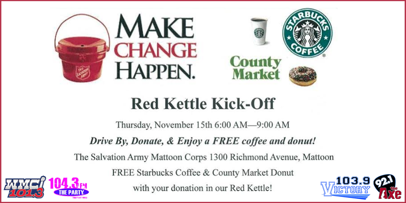 Feature: https://www.1043theparty.com/2018/11/08/salvation-army-of-mattoon-red-kettle-kick-off/