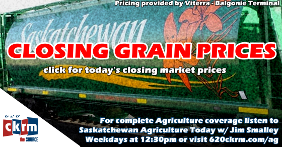 Closing grain prices Monday June 4