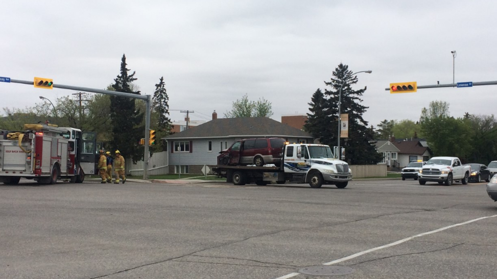 Two-vehicle collision at Lewvan Drive and Dewdney Avenue intersection