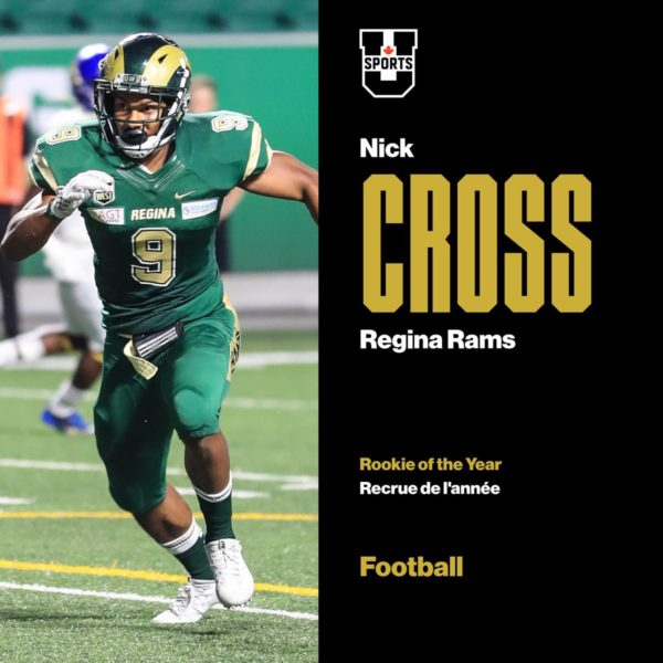 Regina Rams LB Nick Cross named USports Canada football rookie of the year