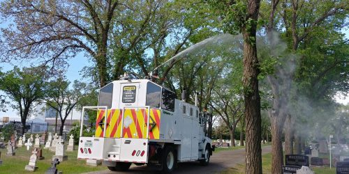 Regina trees being sprayed for tent caterpillars and canker worms