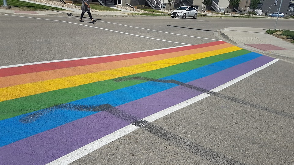 Ecole Harbour Landing rainbow crosswalk vandalized