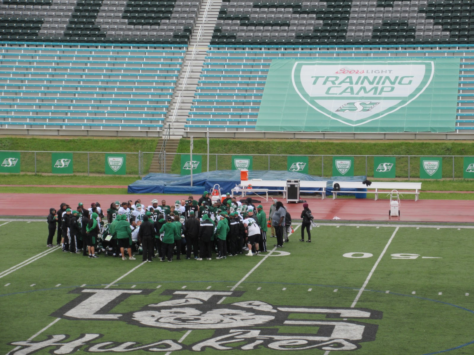 Riders Practice In The Rain On Friday