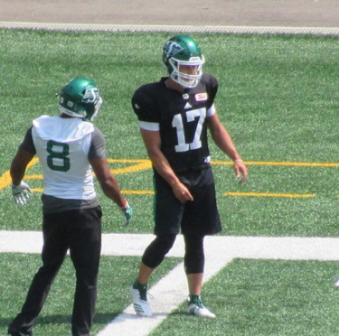 Zach Collaros practicing with Riders