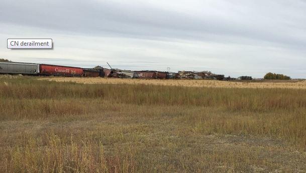 Grain hopper cars derail on CN line west of Saskatoon
