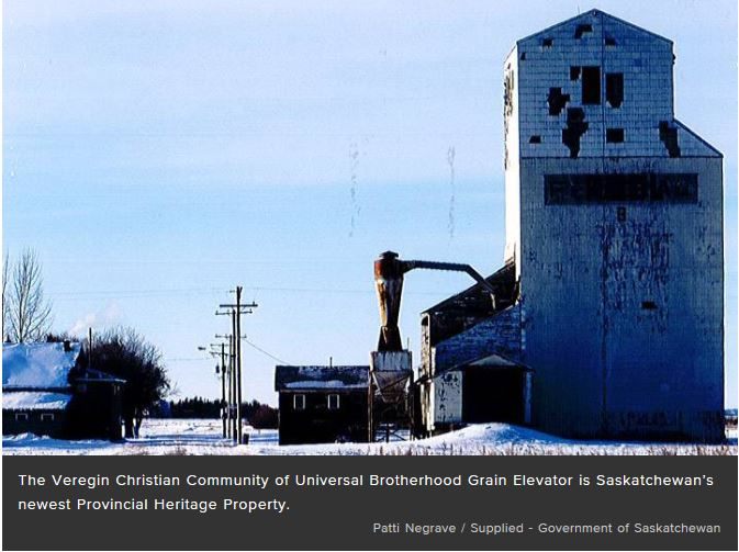 Grain elevator at Veregin receives Provincial Heritage Property Designation