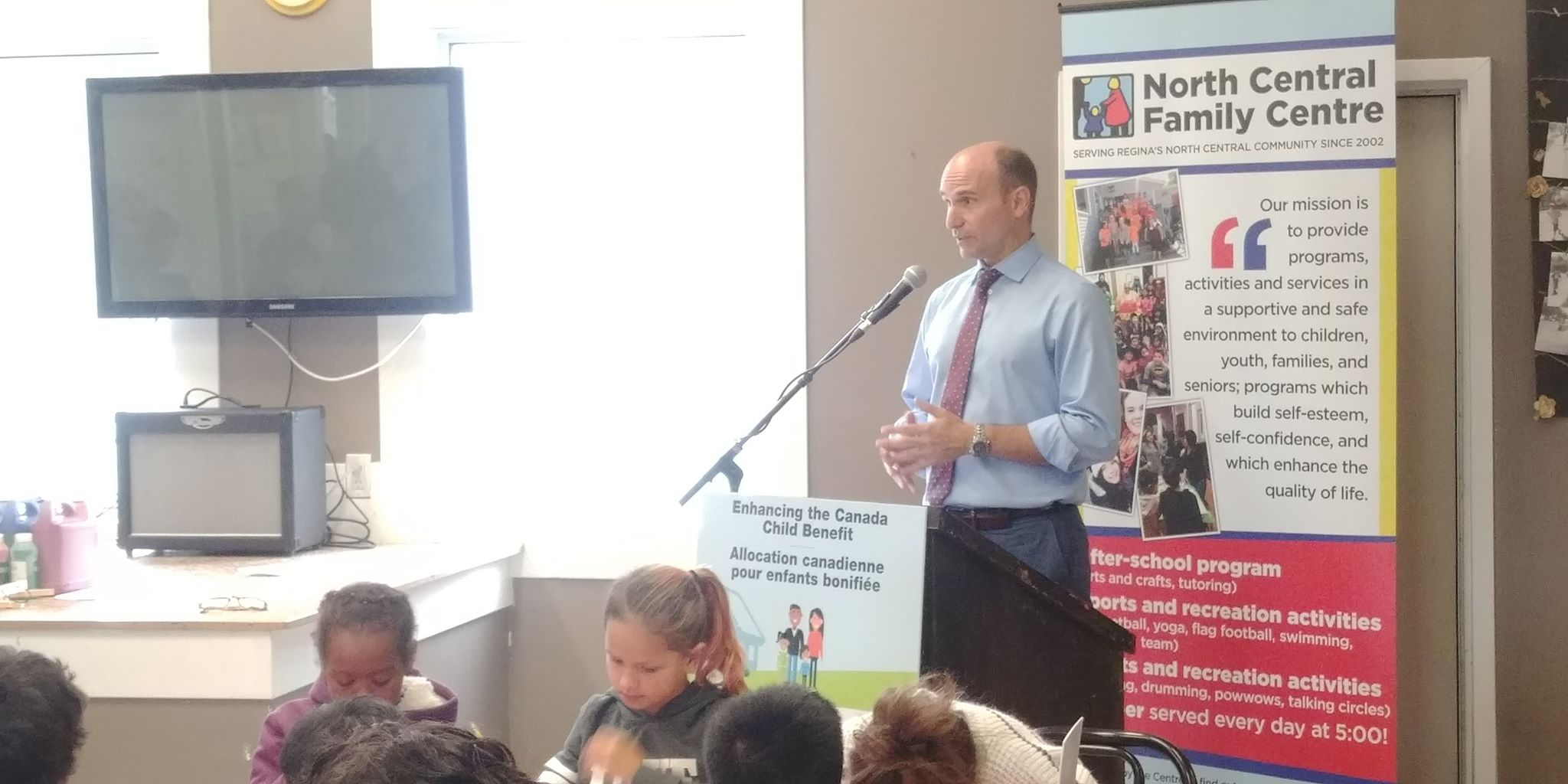 Jean-Yves Duclos visits Regina to speak about the Canadian Child Benefit