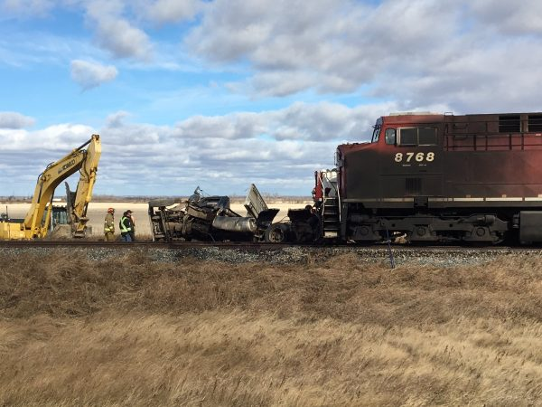 Collision between CP Train and Semi Reportedly Leaves Driver with Serious Injuries