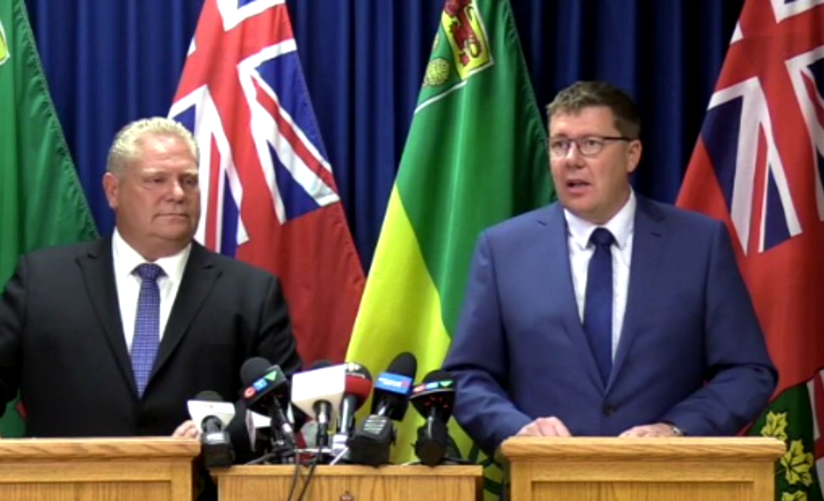 Scott Moe and Doug Ford send message of unity towards Ottawa regarding carbon tax