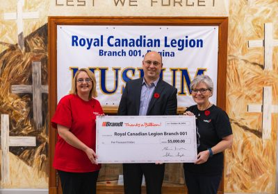 Regina branch of Royal Canadian Legion gets financial assistance from Brandt Group of Companies