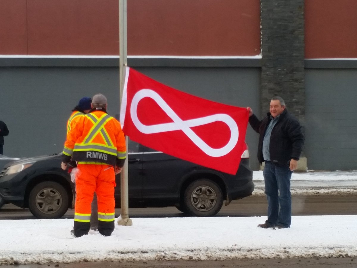 Métis Flag Being Flown in Fort McMurray Commemorating Louis Riel Day