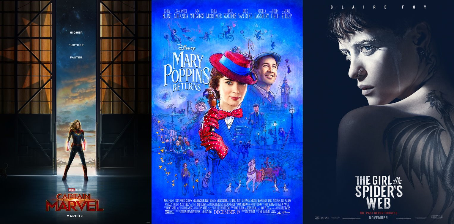 Trailer-Watchin' Wednesday - Mary Poppins Returns, Captain Marvel, The Girl in the Spider's Web