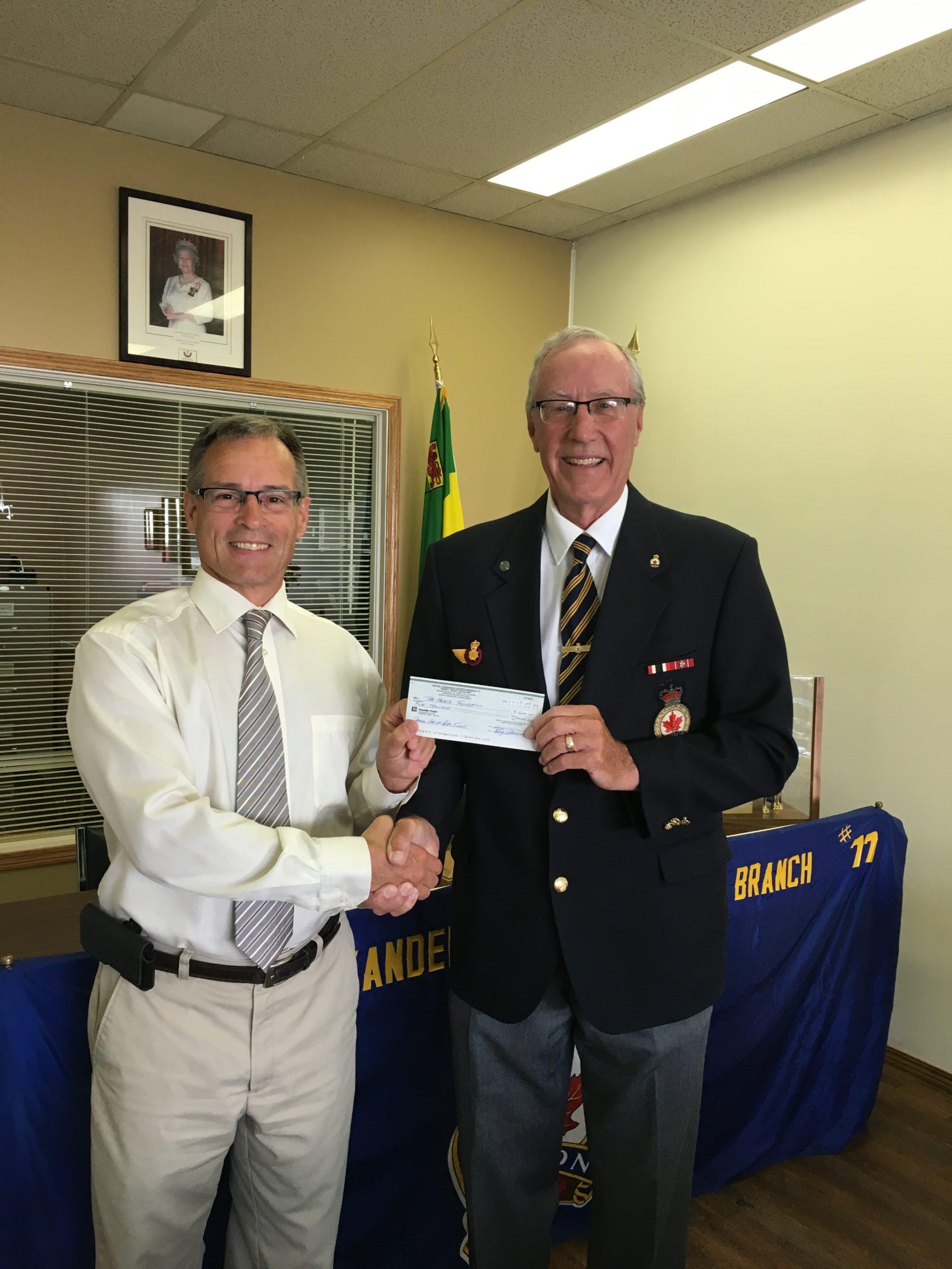 Yorkton's Royal Canadian Legion Branch Donates 5K To Health Foundation
