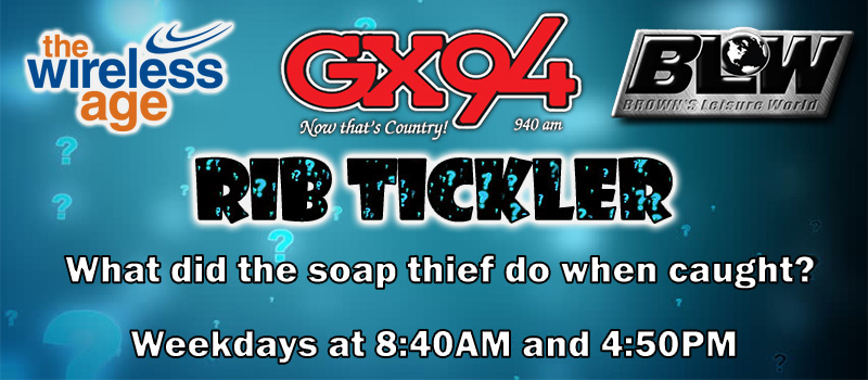 Win the growing pot of quick pick lottery tickets with GX94's Rib Tickler!