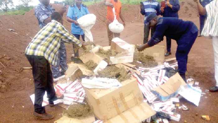 Customs destroys smuggled cigarettes, Indian hemp