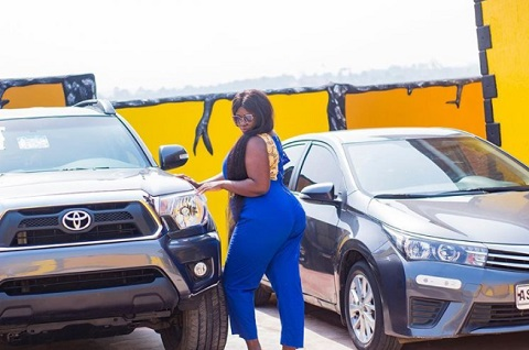 Tracy Boakye's boyfriend surprises her with 4X4 Toyota as her birthday approaches