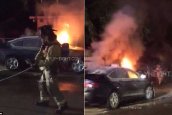 Photos: Lady sets her cheating boyfriend's car on fire after failing to break the windows
