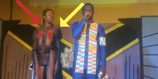 OMG: Former Beauty Queen of Education's outfit which exposes her oranges and its sad.