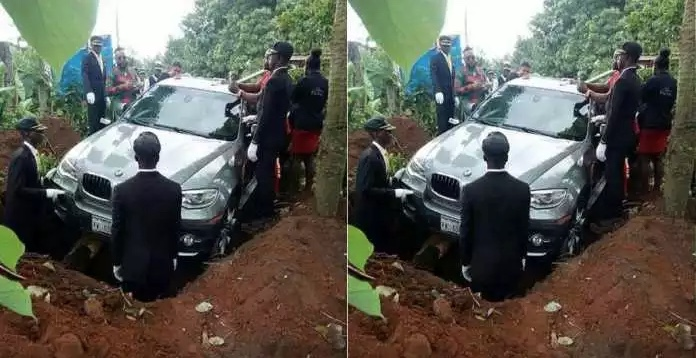 PHOTOS: Nigerian Billionaire buries his father inside a BMW X6 SUV