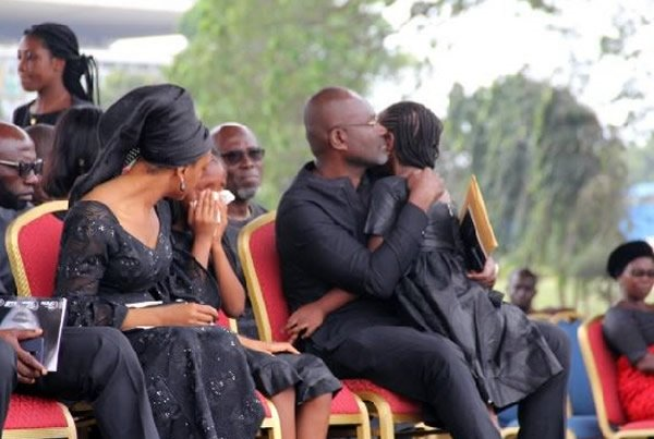 Ken Agyapong embraces 6 year old daughter in tears as baby mama is laid in state