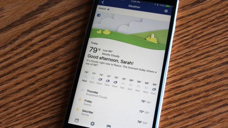 Facebook can now replace your weather app