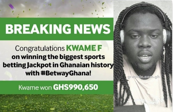 Ghanaian wins GH₵990,650 jackpot with Betway after placing a GH₵4 bet