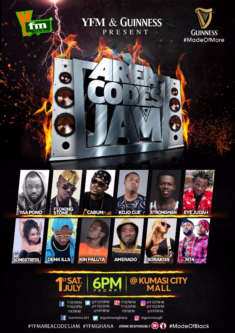 Yaa Pono, Flowking Stone, Others to Turn Up Kumasi City Mall for YFM Area Codes Jam