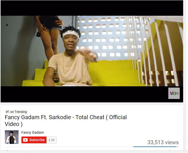 WATCH: Fancy Gadam's 'Total Cheat' featuring Sarkodie is YouTube's Number 1 Trending Video