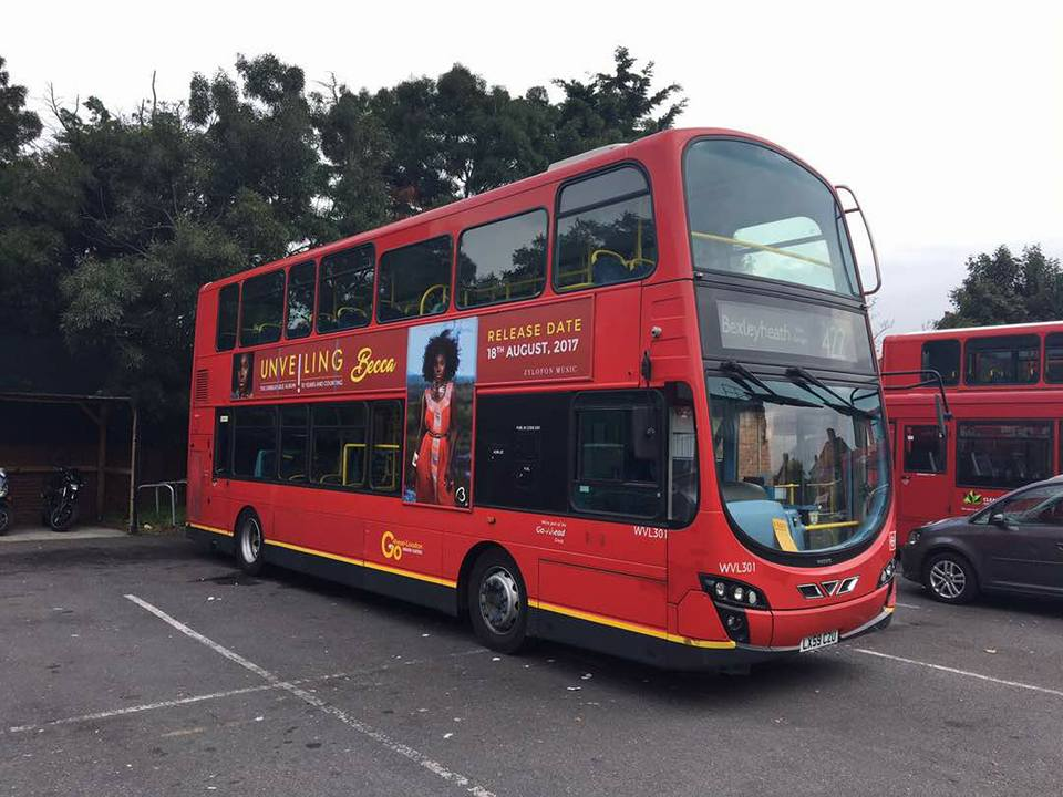 Zylofon Media Effect: London Buses Carry Becca's 'Unveiling' Album Advert – Photos & Video