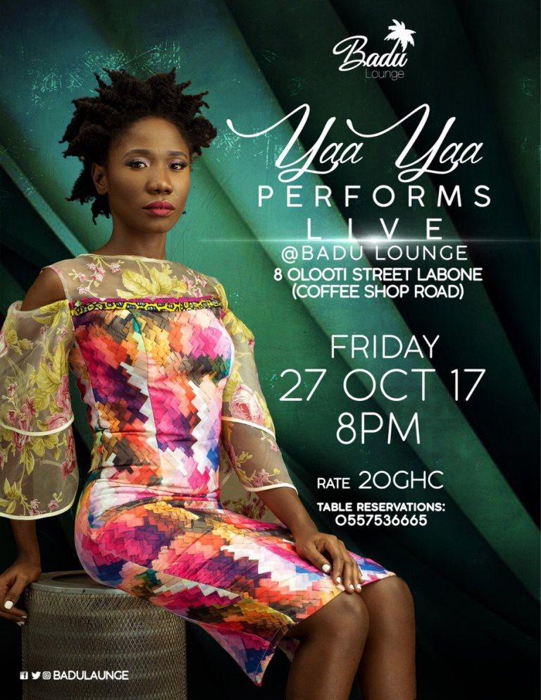 Yaa Yaa to hold a show at Badu Lounge on October 27