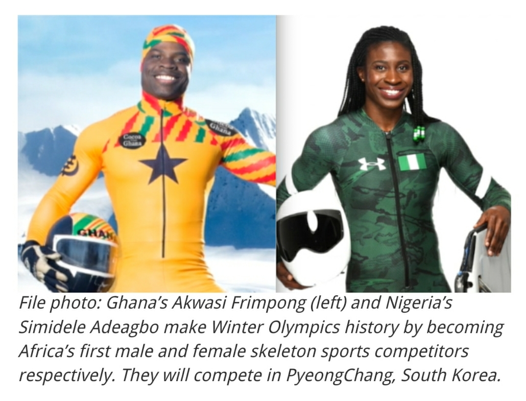 Akwasi Frimpong of Ghana is Africa's first male skeleton athlete at 2018 Winter Olympics