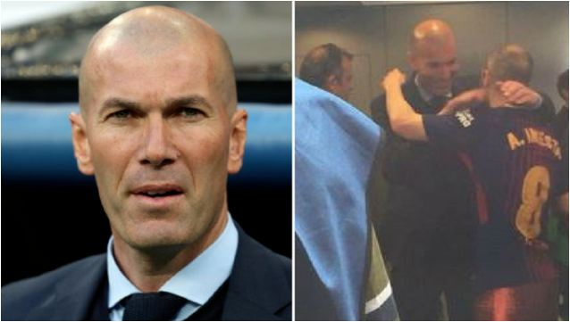Zidane Waits For Five Minutes In Front Of Barca Locker-Room To Give Iniesta A Goodbye Hug