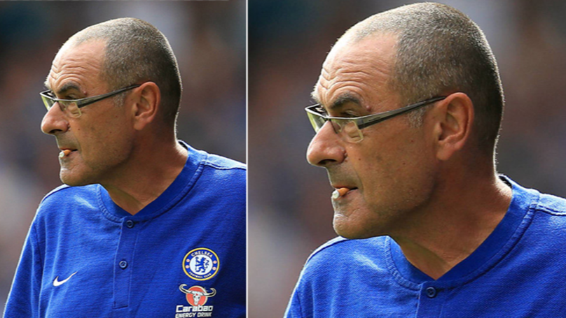 Maurizio Sarri Can't Smoke On The Touchline, So He Chews Cigarette Instead