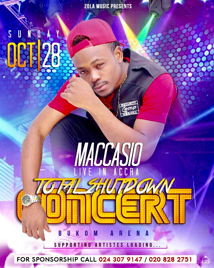 "Maccasio to rock Bukom Arena with ""Total Shutdown"" concert October 28"
