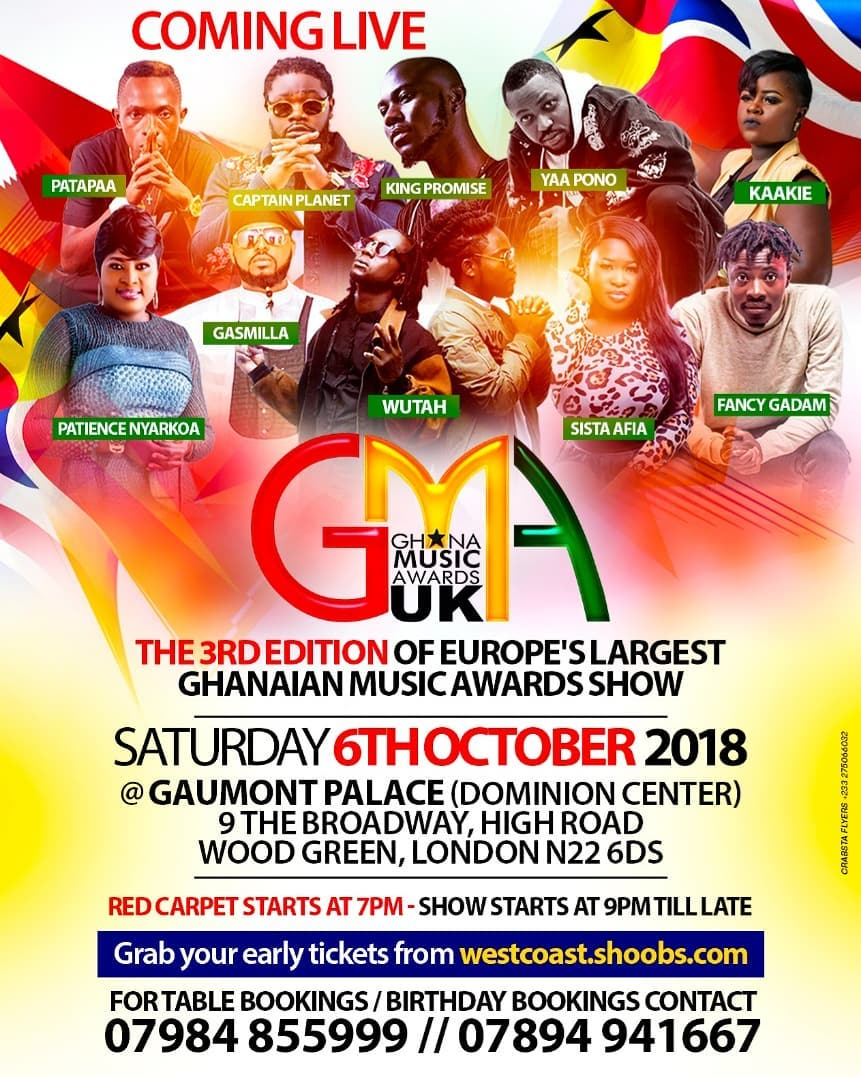 GH Allstar artistes ready for Ghana Music Awards UK 2018 event