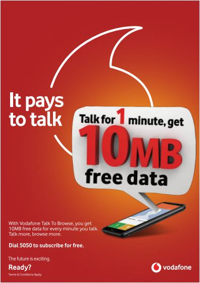 Vodafone gives free data for every local call made