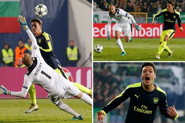 The 10 stages of Mesut Ozil's stunning late winner for Arsenal against Ludogorets