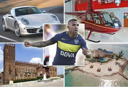 five amazing things Carlos Tevez can buy with his new £615k-a-week wages - A new Porsche every day, a helicopter every week and his own private island