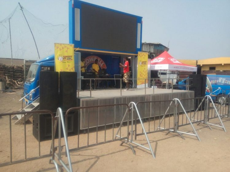 PHOTOS: All is set at Bukom for Happy FM-Cowbell AFCON Live Coverage
